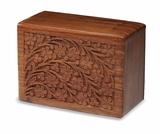 Hand-Carved Tree Of Life Rosewood Wood Cremation Urn-Medium