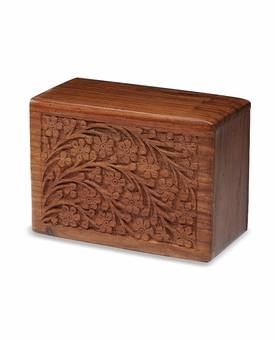Hand-Carved Tree Of Life Rosewood Wood Cremation Urn - Medium