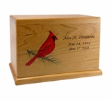 Hand-Painted Cardinal Cherry Wood Cremation Urn