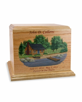 Hand-Painted Country Cottage Oak Wood Cremation Urn