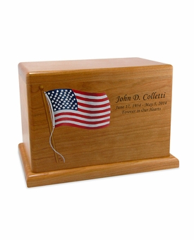 Hand-Painted Flag Cherry Wood Cremation Urn