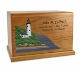 Hand-Painted Lighthouse Cherry Wood Cremation Urn