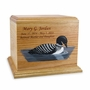 Hand-Painted Loon Oak Wood Cremation Urn