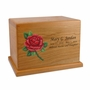 Hand-Painted Rose Cherry Wood Cremation Urn