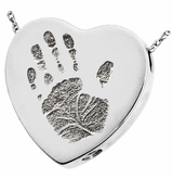 Handprint Heart Slider Sterling Silver Memorial Cremation Pendant Necklace