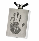 Handprint Rectangle Stainless Steel Memorial Cremation Pendant Necklace