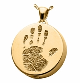 Handprint Round Solid 14k Gold Memorial Cremation Pendant Necklace