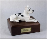 Harlequin Great Dane Dog Figurine Pet Cremation Urn - 1232
