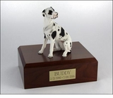 Harlequin Great Dane Dog Figurine Pet Cremation Urn - 336