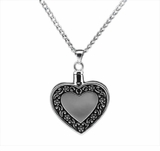 Heart Antique Border Sterling Silver Cremation Jewelry Necklace