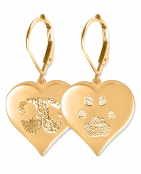 Heart Buddies 3D Pet Paw Print / Nose Print 14k Gold Memorial Earrings