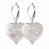 Heart Buddies 3D Pet Paw Print / Nose Print Sterling Silver Memorial Earrings