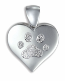 Heart Buddies 3D Pet Paw Print / Nose Print Sterling Silver Memorial Pendant