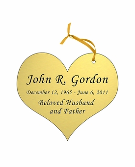 Heart Double-Sided Memorial Ornament - Engraved - Gold
