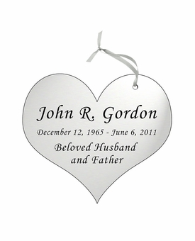Heart Double-Sided Memorial Ornament - Engraved - Silver
