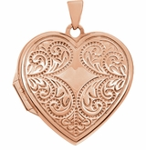 Heart Flourish 14k Rose Gold Memorial Locket Jewelry Necklace