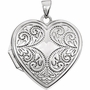 Heart Flourish 14k White Gold Memorial Locket Jewelry Necklace