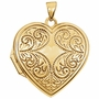Heart Flourish 14k Yellow Gold Memorial Locket Jewelry Necklace