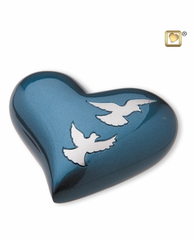 Heart Flying Doves Keepsake Cremation Urn