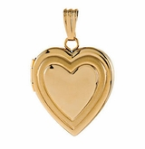 Heart in Heart 14k Yellow Gold Memorial Locket Jewelry Necklace