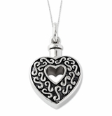 Heart In Heart Antiqued Sterling Silver Cremation Jewelry Necklace