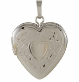 Heart in Heart Sterling Silver Memorial Locket Jewelry Necklace