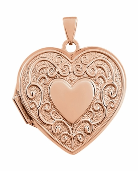 Heart in Heart with Vines 14k Rose Gold Memorial Locket Jewelry Necklace