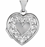 Heart in Heart with Vines 14k White Gold Memorial Locket Jewelry Necklace