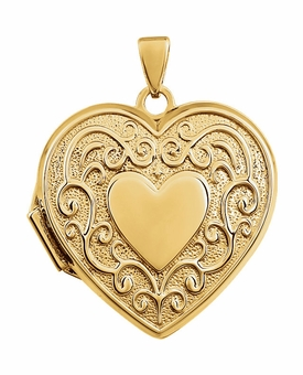 Heart in Heart with Vines 14k Yellow Gold Memorial Locket Jewelry Necklace