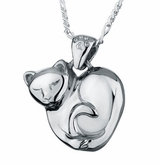 Heart Kitten Sterling Silver Pet Cremation Jewelry Pendant Necklace