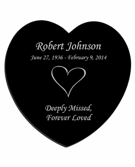 Heart Laser-Engraved Heart Plaque Black Granite Memorial