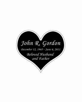 Heart Nameplate - Engraved Black and Silver - 1-7/8  x  1-5/8