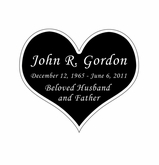 Heart Nameplate - Engraved Black and Silver - 2-3/4  x  2-3/8