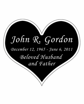 Heart Nameplate - Engraved Black and Silver - 3-1/2  x  3