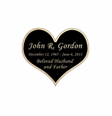 Heart Nameplate - Engraved Black and Tan - 1-7/8  x  1-5/8