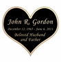 Heart Nameplate - Engraved Black and Tan - 3-1/2  x  3