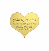 Heart Nameplate - Engraved - Gold - 1-7/8  x  1-5/8