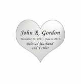 Heart Nameplate - Engraved - Silver - 1-7/8  x  1-5/8