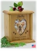 Heart Photo Insert And Paw Prints Engraved Wood Pet Cremation Urn