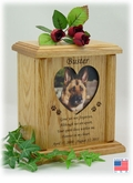 Heart Photo Insert With Poem And Paw Prints Engraved Wood Pet Cremation Urn