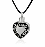 Heart with Border Design Stainless Steel Cremation Jewelry Pendant Necklace