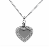 Heart with Border Sterling Silver Cremation Jewelry Necklace