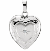 Heart with Diamond Starburst 14k White Gold Memorial Locket Jewelry Necklace