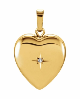 Heart with Diamond Starburst 14k Yellow Gold Memorial Locket Jewelry Necklace