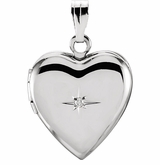 Heart with Diamond Starburst Sterling Silver Memorial Locket Jewelry Necklace