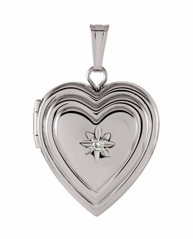 Heart with Diamond Sterling Silver Memorial Locket Jewelry Necklace