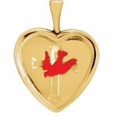 Heart with Dove and Cross Gold Vermeil Memorial Locket Jewelry Necklace