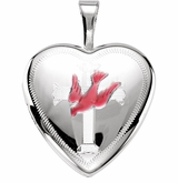 Heart with Dove and Cross Sterling Silver Memorial Locket Jewelry Necklace