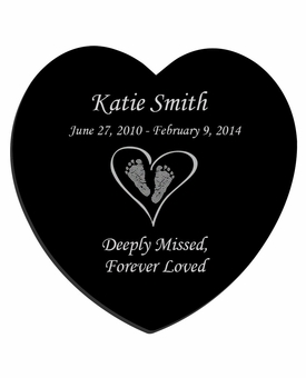 Heart with Feet Laser-Engraved Infant-Child Heart Plaque Black Granite Memorial