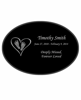 Heart with Feet Laser-Engraved Infant-Child Oval Plaque Black Granite Memorial